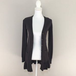 BB Dakota ruffle bottom gray wool blend cardigan
